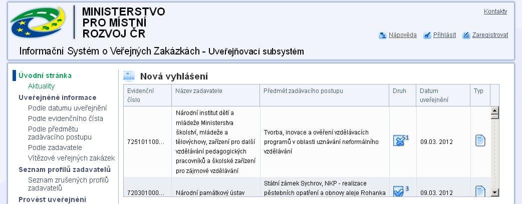 Veřejné zakázky Ministerstva pro místní rozvoj - http://ezak.mmr.cz/