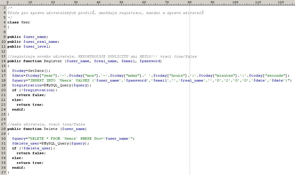 Ukázka PHP kódu