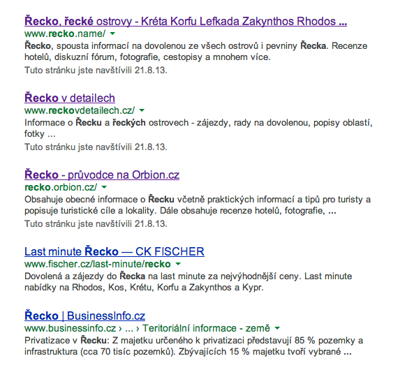 Výsledky vyhledávání Google pro slovo řecko